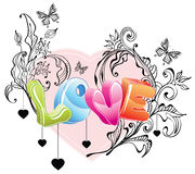 Valentine background with floral ornament. And 3d love over white Royalty Free Stock Image