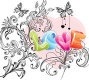 Valentine background with floral ornament and love. Over white Royalty Free Stock Photo