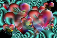 Valentine background and fractals Royalty Free Stock Photos