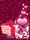 Valentine background with gift box stock photos