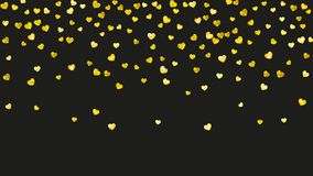 Valentine background with gold glitter hearts. February 14th day. Valentine day border with gold glitter sparkles. February 14th day. Vector confetti for Stock Image