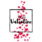 Valentine background with gold glitter hearts. February 14th day. Vector confetti for valentine background template. Valentines day card with red glitter hearts Royalty Free Stock Image