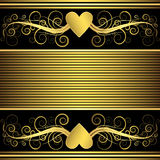 Valentine background with gold heart (vector) Stock Image