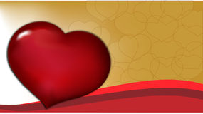 Valentine background. Gold background with hearts and wave Stock Images