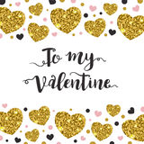 Valentine background with golden hearts. Abstract vector Valentine background with shining golden hearts. Festive greeting card Royalty Free Stock Image