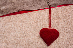 Valentine background hand-sewn heart texstile Royalty Free Stock Photo