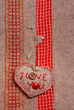 Valentine background hand-sewn heart texstile Royalty Free Stock Photos