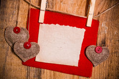 Valentine background hand-sewn heart wood wooden Royalty Free Stock Images