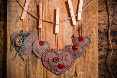 Valentine background hand-sewn heart wood wooden Royalty Free Stock Photo