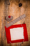 Valentine background hand-sewn heart wood wooden Royalty Free Stock Image