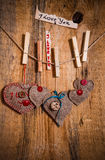Valentine background hand-sewn heart wood wooden Royalty Free Stock Photos