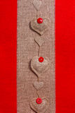 Valentine background hand-sewn hearts texstile Stock Image