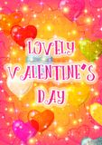 Valentine Background with Heart Balloons Stock Photography