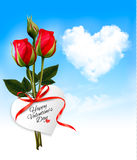 Valentine background with heart cloud and red flowers. Stock Photography