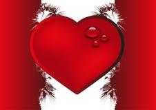 Valentine background with heart. Valentine red background with heart and drops Stock Image