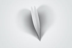 Valentine background - heart-shaped shadow. Gray love background - paper heart casting a big heart-shaped shadow Royalty Free Stock Photo