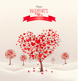 Valentine background with heart shaped trees. Stock Photography