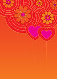 Valentine background with hearts. Valentine decorative card with two hearts vector illustration