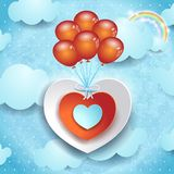 Valentine background with hearts and balloons Royalty Free Stock Images
