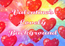 Valentine Background with Hearts. Valentine Holiday Background with Big Red Hearts, Sparks, Confetti and Colorful Light Rays. Eps10, Contains Transparencies stock illustration