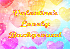 Valentine Background with Hearts. Valentine Holiday Background with Big Hearts, Sparks, Confetti and Colorful Light Rays. Eps10, Contains Transparencies. Vector vector illustration