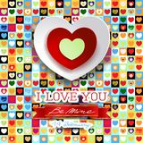 Valentine background with hearts and message vector illustration