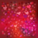 Valentine background with hearts, pattern in red. Blurred holiday banner royalty free illustration