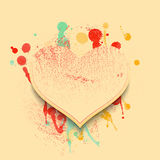 Valentine background with hearts and spots of paint in soft vintage colors. Stock Photography