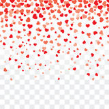 Valentine background with hearts on transparent. Valentine background with hearts falling on transparent royalty free illustration