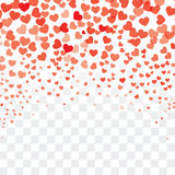 Valentine background with hearts on transparent. Valentine background with hearts falling on transparent stock illustration