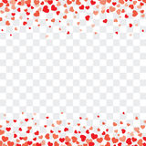 Valentine background with hearts on transparent and space for te. Vector valentine background with hearts on transparent and space for text royalty free illustration