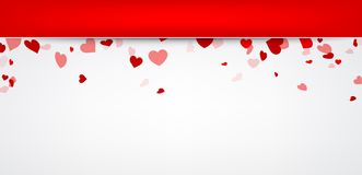 Valentine background with hearts. Vector paper illustration royalty free illustration