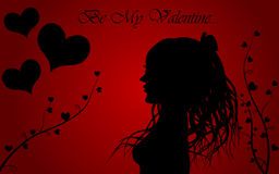 Valentine background. With hearts and woman Stock Photography