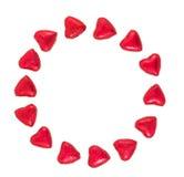 Valentine Background hizo con los corazones rojos en un fondo blanco Foto de archivo libre de regalías