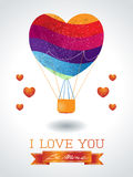 Valentine background with hot air balloon and message Stock Photo