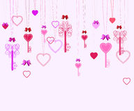 Valentine background with keys and hearts Stock Photos