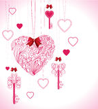 Valentine background with keys and hearts. Pink beautiful Valentine background with keys and hearts Royalty Free Stock Photo