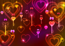 Valentine background with keys and hearts. Pink dark Valentine background with keys and hearts Royalty Free Stock Photos