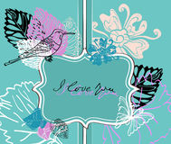 Valentine background with label. Valentine hand drawing blue background with flowers Stock Photo