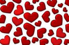 Valentine background - lot of red hearts. Love background - a lot of red glossy hearts on white background Royalty Free Stock Photo