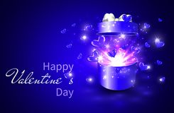 Valentine background, Open gift box with surprise, heart and magic light fireworks.  Stock Image