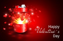 Valentine background, Open gift box with surprise, heart and magic light fireworks.  Stock Photos