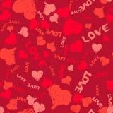 Valentine Background Painted Hearts en Woordenliefde Royalty-vrije Stock Fotografie