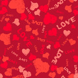 Valentine Background Painted Hearts and Words Love Royalty Free Stock Photography