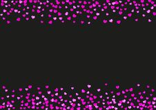 Valentine background with pink glitter hearts. February 14th day. Vector confetti for valentine background template. Grunge hand drawn texture. Love theme for Stock Photos