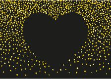 Valentine background with pink glitter hearts. February 14th day. Vector confetti for valentine background template. NValentines day border with gold glitter Royalty Free Stock Image