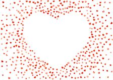 Valentine background with pink glitter hearts. February 14th day. Vector confetti for valentine background template. NValentines day frame with pink glitter Stock Photos