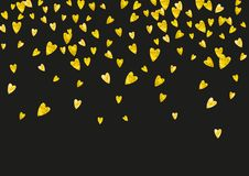 Valentine background with pink glitter hearts. February 14th day. Vector confetti for valentine background template. Valentines day frame with gold glitter Royalty Free Stock Photo