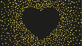Valentine background with pink glitter hearts. February 14th day. Vector confetti for valentine background template. Valentines day heart with gold glitter Royalty Free Stock Photo