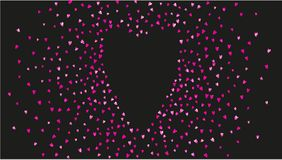 Valentine background with pink glitter hearts. February 14th day. Vector confetti for valentine background template. Valentines day heart with red glitter Stock Photos